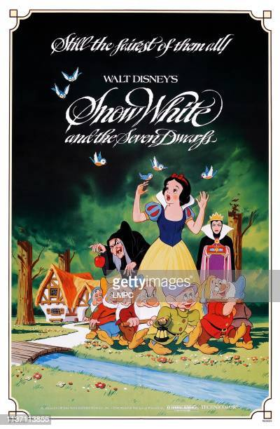 Snow White And The Seven Dwarfs poster rear lr Wicked Witch Snow White Wicked Queen front lr Sleepy Happy Bashful Grumpy Dopey Doc Sneezy on poster...