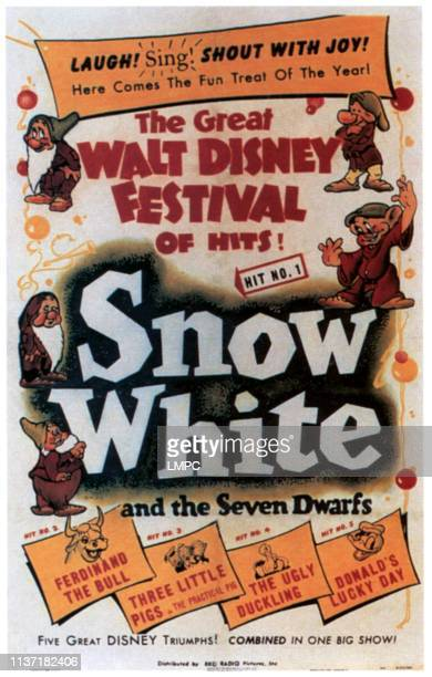 Snow White And The Seven Dwarfs poster top clockwise from top left Bashful Sleepy Doc Dopey Grumpy bottom from left Ferdinand the Bull Three Little...