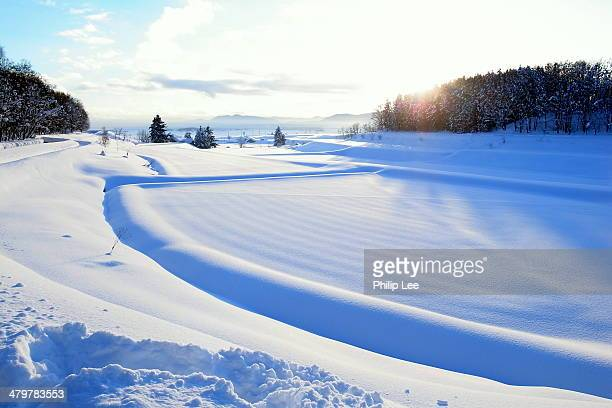 snow white plain with beautiful sunset