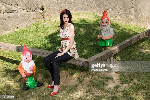snow white with dwarves - snow white stock photos and pictures