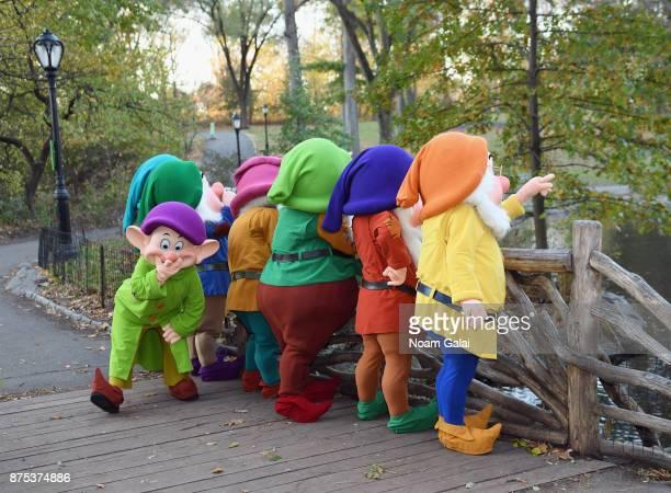 Snow White's Seven Dwarfs exploring The Loch in Central Park on November 17 2017 in New York City