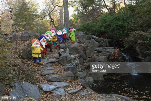 Snow White's Seven Dwarfs playing by the stream at The Loch in Central Park on November 17 2017 in New York City