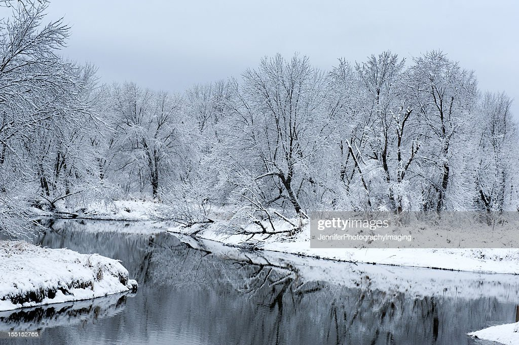 Snow Winter Landscape With A Lake Stock Photo | Getty Images