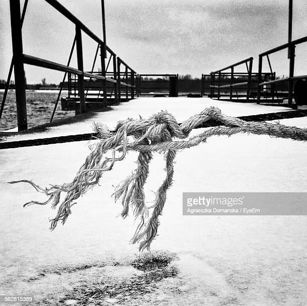 Snow With Rope On Pier