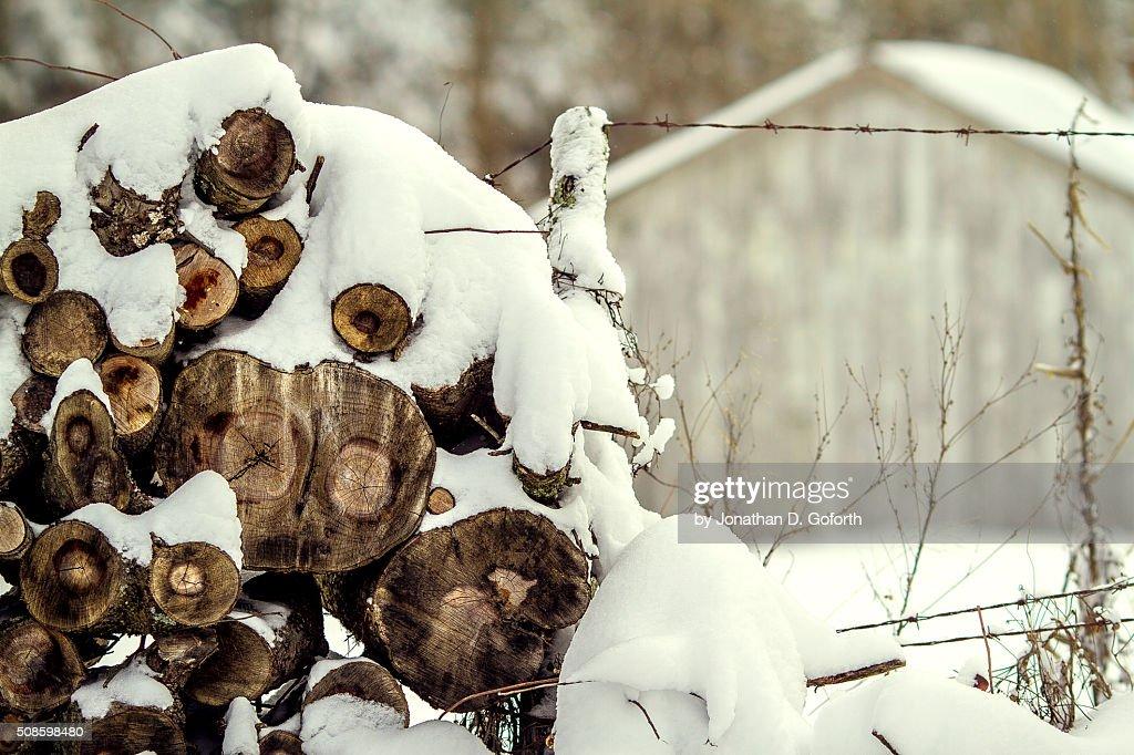 Snow Wood Pile : Foto de stock