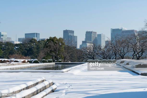 Snow wraps up the Parliamentary Museum Park (Kensei Kinenkan), which is in front of Hibiya and Marunouchi district high-rise buildings at Chiyoda-ku Tokyo Japan – January. 23 2018.