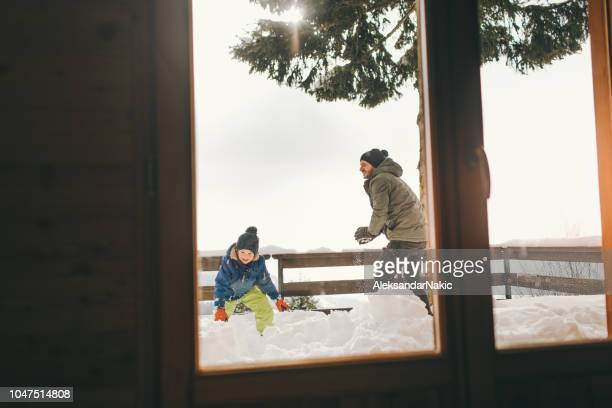 snowball fight with dad - 2 5 months stock pictures, royalty-free photos & images