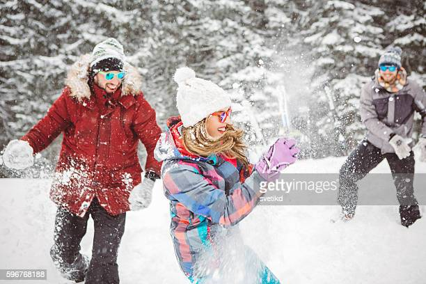 Snowball fight with friends