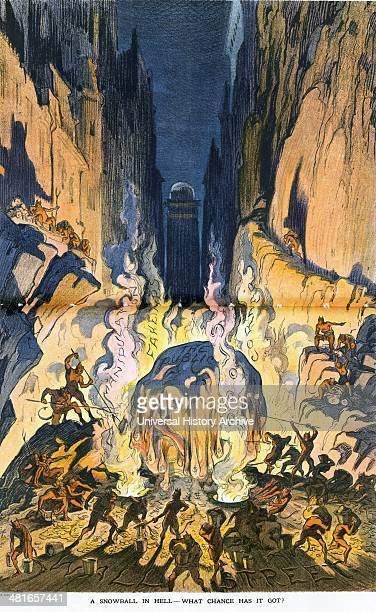 A snowball in hell what chance has it got by Udo Keppler 18721956 artist published 19130101 Illustration shows Hell labelled Wall Street where a huge...