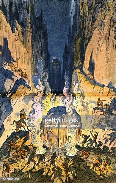 A snowball in hell what chance has it got by Udo Keppler 18721956 artist Published 1913 Illustration shows Hell labelled Wall Street where a huge...