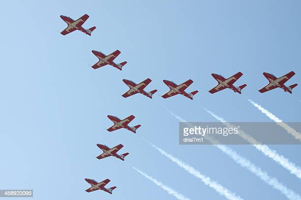 snowbirds flying in formation - canadian snowbird stock pictures, royalty-free photos & images