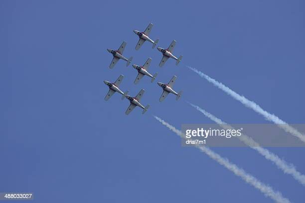snowbirds flying in formation - canadian forces snowbirds stock pictures, royalty-free photos & images