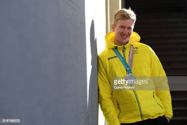Snowboard Cross rider Jarryd Hughes of Australia poses for a portrait the morning after winning the silver medal in the Men's Snowboard Cross on...
