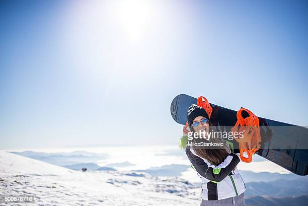 snowboard girl - wintersport stockfoto's en -beelden