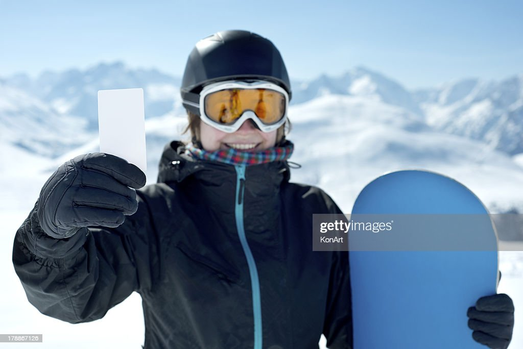 スノーボードの少女の笑顔、ブランクカード : ストックフォト