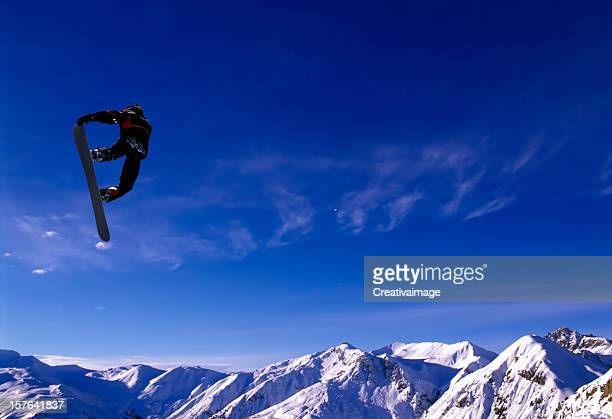 snowboard jump - anti gravity stock photos and pictures