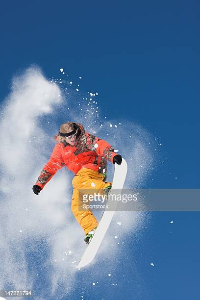 Snowboard Jump With Brilliant Colors