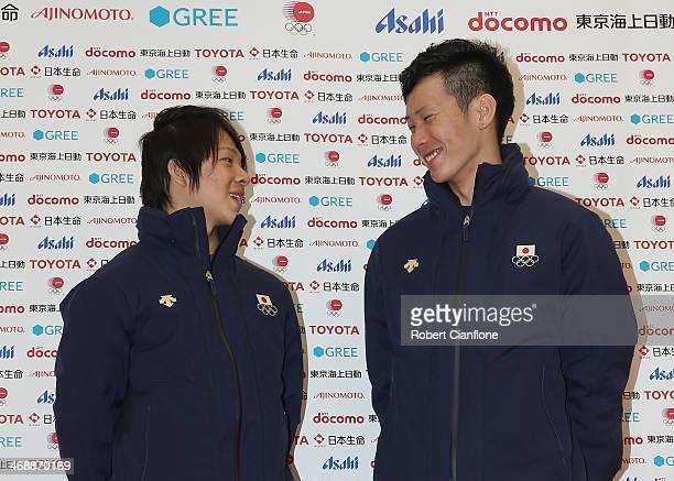 Snowboard Men's Halfpipe silver medalist Ayumu Hirano and bronze medalist Taku Hiraoka pose for photographs during the Japanese medalists press...