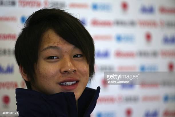 Snowboard Men's Halfpipe silver medalist Ayumu Hirano attends the Japanese medalists press conference on day five of the Sochi 2014 Winter Olympics...