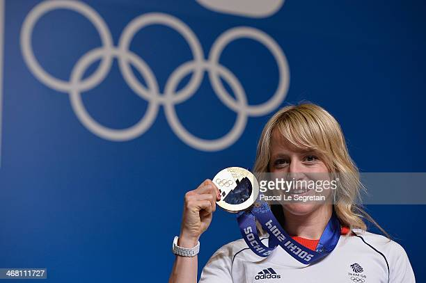 Snowboard slopestyle bronze medallist Jenny Jones of Great Britan poses during a press conference on February 9 2014 in Sochi Russia