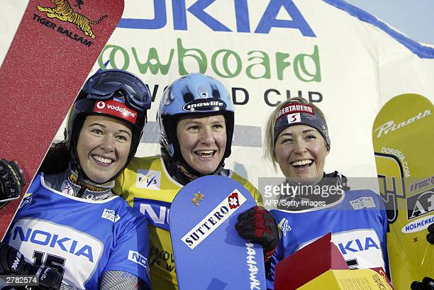 Snowboard World Cup parallell slalom winner Daniela Meuli of Switzerland secondplaced Sara Fischer of Sweden and Doresia Krings of Austria who took...