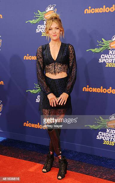 Snowboarder Amy Purdy arrives at the Nickelodeon Kids' Choice Sports Awards 2015 at UCLA's Pauley Pavilion on July 16 2015 in Westwood California