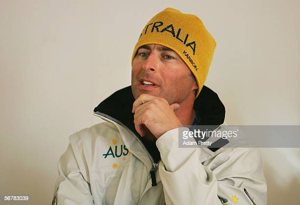 Snowboarder Andrew Burton of Australia speaks during a press conference prior to the Turin 2006 Winter Olympic Games on February 8 2006 in...