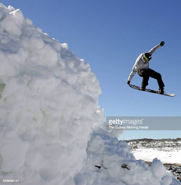 Snowboarder Andrew Burton training at Perisher Blue 27 July 2005 SMH Picture by TIM CLAYTON