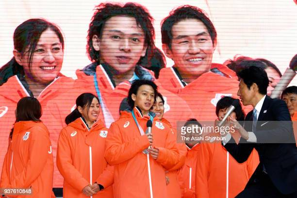Snowboarder Ayumu Hirano attends a talk session after the team disbandment ceremony on February 26 2018 in Tokyo Japan