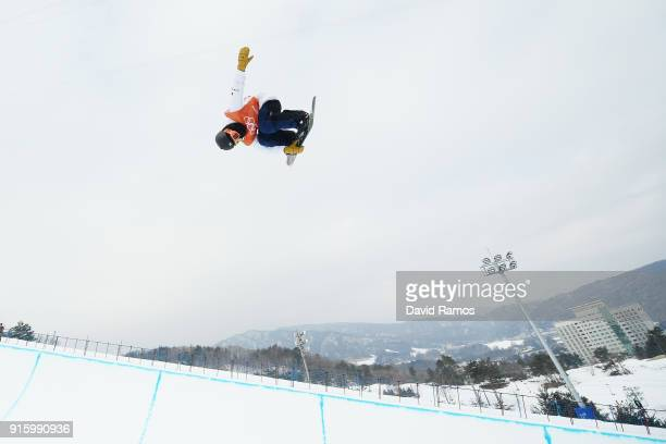 Snowboarder Ayumu Hirano of Japan practices ahead of the PyeongChang 2018 Winter Olympic Games at Phoenix Snow Park on February 9, 2018 in...