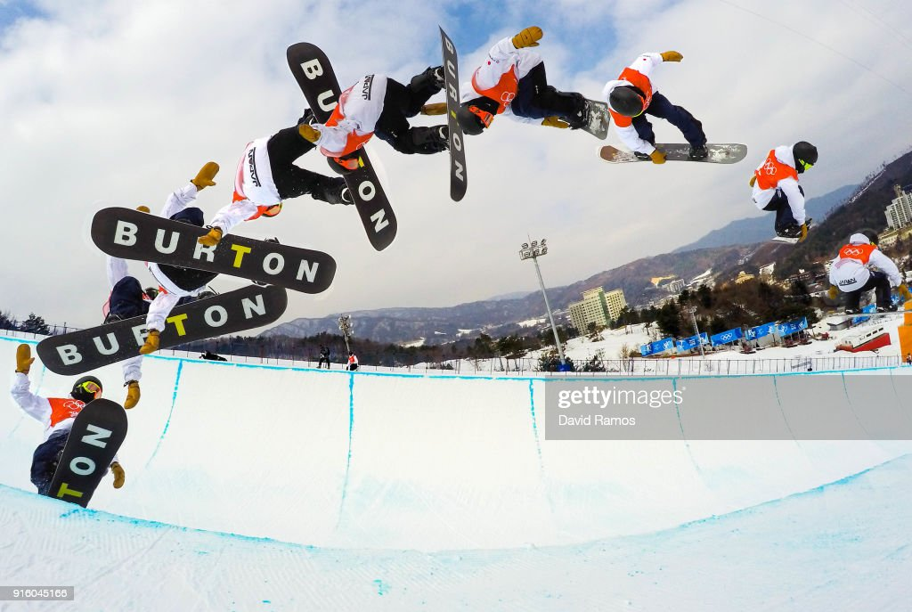 Snowboarder Ayumu Hirano of Japan practices ahead of the PyeongChang 2018 Winter Olympic Games at Phoenix Snow Park on February 9, 2018 in Pyeongchang-gun, South Korea.