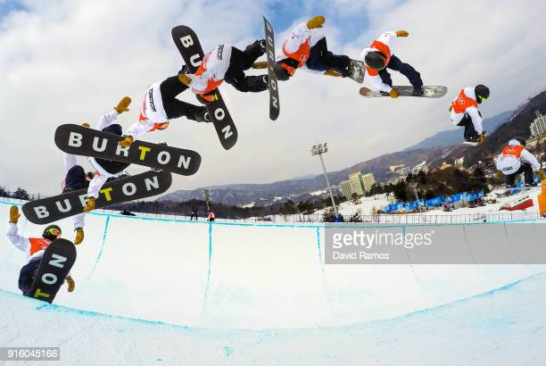 Snowboarder Ayumu Hirano of Japan practices ahead of the PyeongChang 2018 Winter Olympic Games at Phoenix Snow Park on February 9 2018 in...