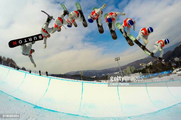 Snowboarder Ben Ferguson of the United States practices ahead of the PyeongChang 2018 Winter Olympic Games at Phoenix Snow Park on February 9, 2018...