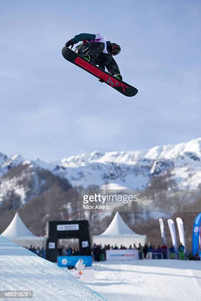 Snowboarder Ben Kilner of Team GB at the snowboard world cup at the Sochi Olympic test event on February 14 2013 in Sochi Russia