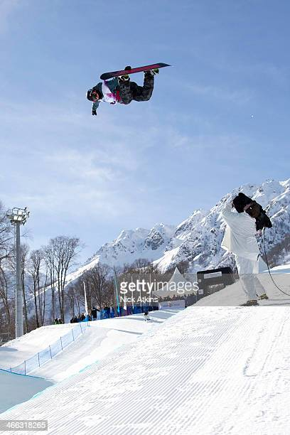 Snowboarder Ben Kilner of Team GB in the half pipe at the snowboard world cup at the Sochi Olympic test event on February 13 2013 in Sochi Russia