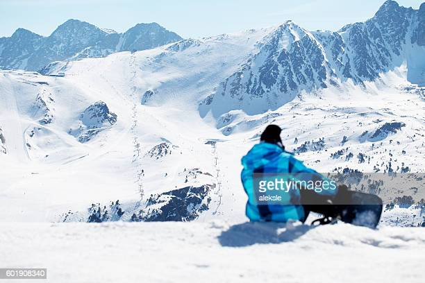 snowboarder enjoying the nature in mountains - andorra stock pictures, royalty-free photos & images