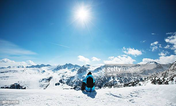 snowboarder enjoying the nature in mountains - european alps stock photos and pictures
