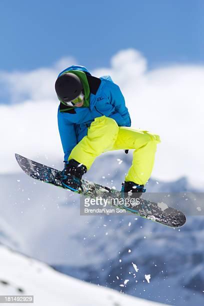CONTENT] A snowboarder going off a jump in Bern Switzerland at Adelbodenlenk