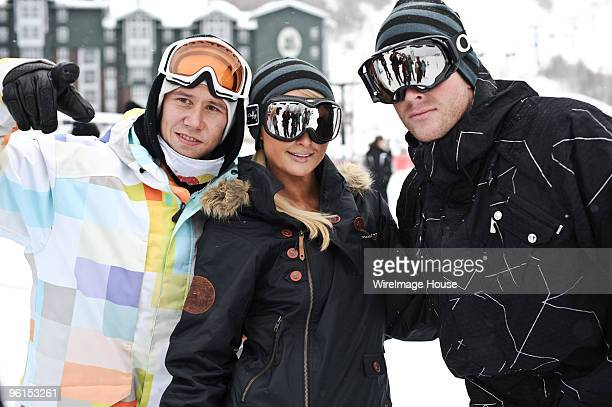Snowboarder Heikki Sorsa Paris Hilton and Doug Reinhardt attend Oakley 'Learn To Ride' Snowboard fueled by Muscle Milk at Oakley Lodge on January 23...