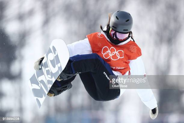 Snowboarder Hikaru Oe of Japan practices ahead of the PyeongChang 2018 Winter Olympic Games at Phoenix Snow Park on February 9 2018 in Pyeongchanggun...