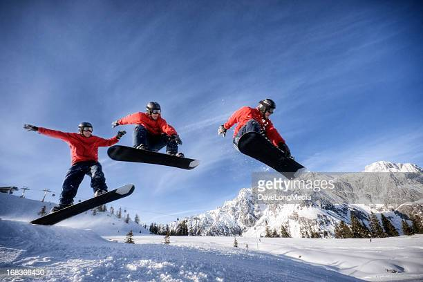 snowboarder in midair - sequential series stock pictures, royalty-free photos & images