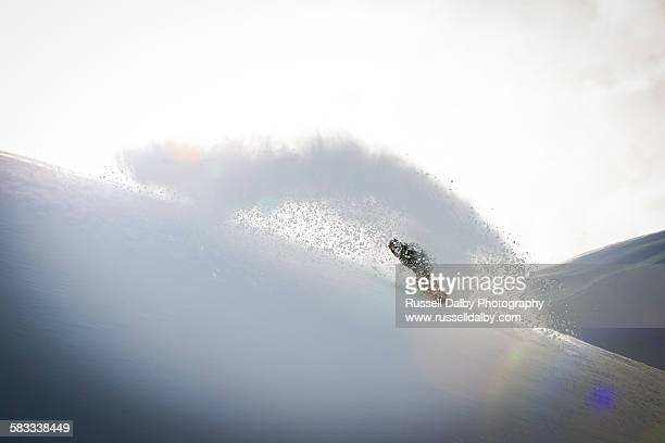 snowboarder in powder snow - powder snow stock pictures, royalty-free photos & images
