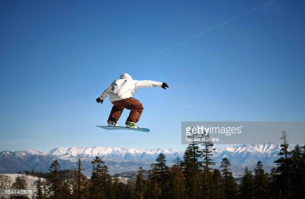 Snowboarder jumping at Mammoth Mountain Resort