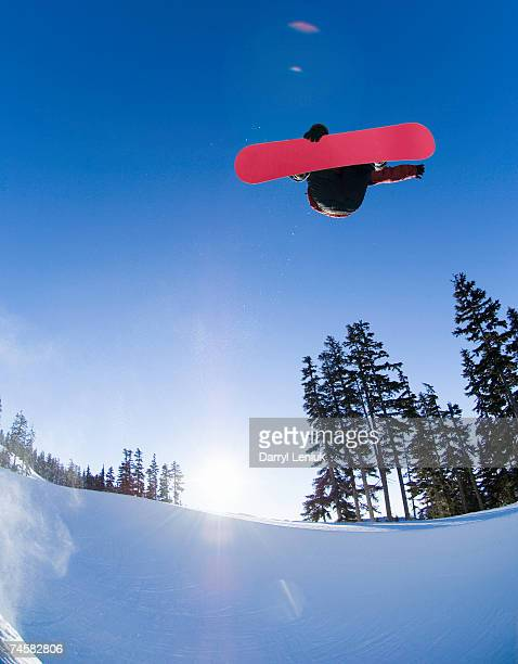 snowboarder jumping in half pipe, low angle view - half pipe stock pictures, royalty-free photos & images