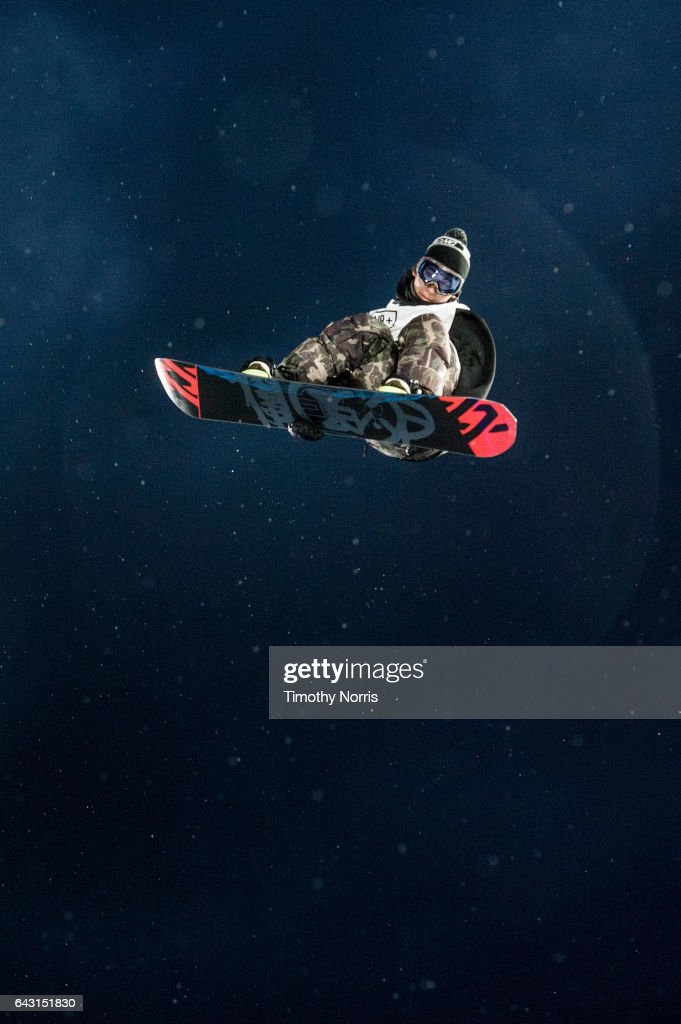Snowboarder Keita Inamura competes during Air + Style Los Angeles 2017 at Exposition Park on February 19, 2017 in Los Angeles, California.