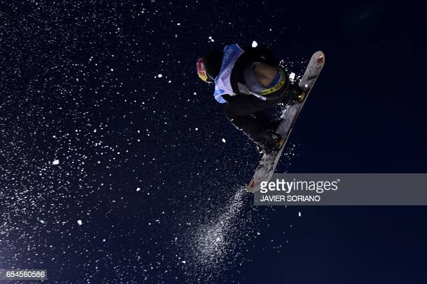 US snowboarder Lyon Farrell competes during the men's Big Air finals at the FIS Snowboard and Freestyle Ski World Championships 2017 in Sierra Nevada...