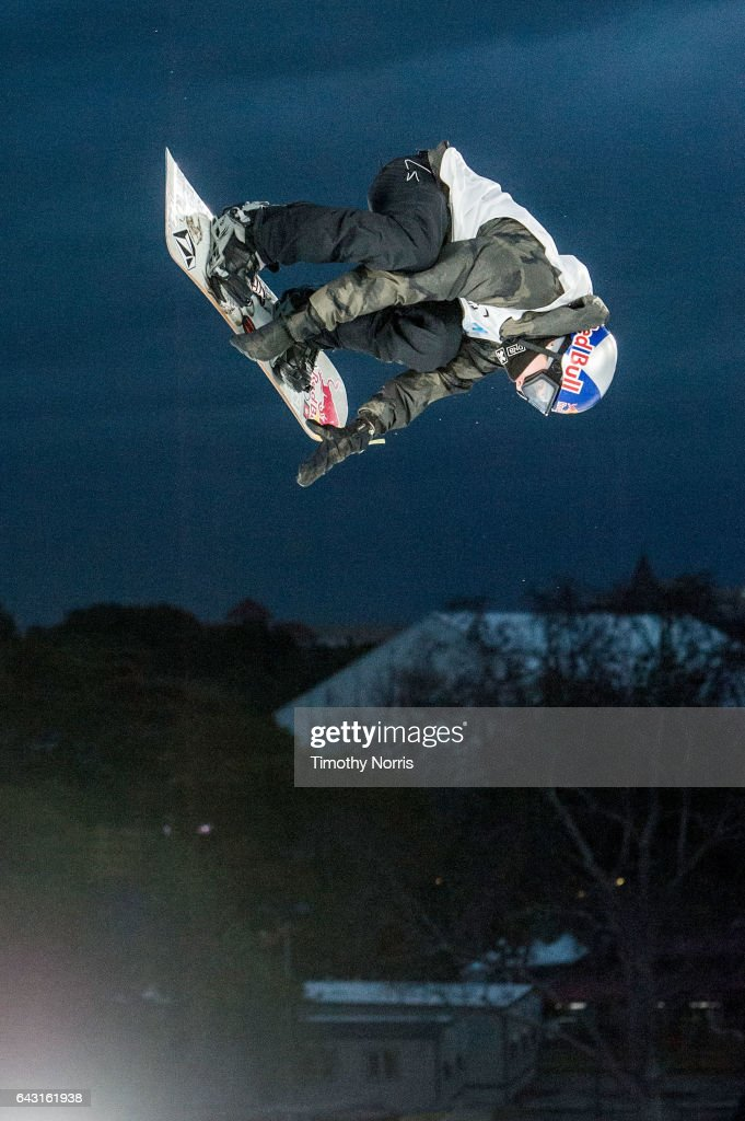 Snowboarder Marcus Kleveland competes during Air + Style Los Angeles 2017 at Exposition Park on February 19, 2017 in Los Angeles, California.