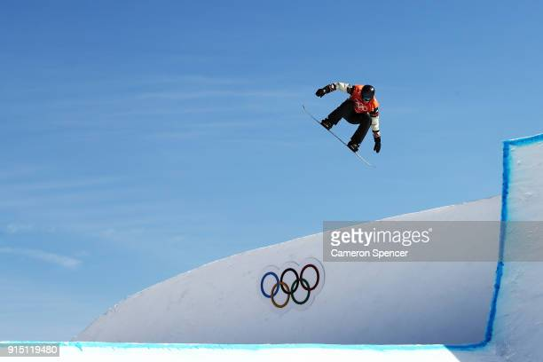 Snowboarder Max Parrot of Canada trains during the Snowboard practice session during previews ahead of the PyeongChang 2018 Winter Olympic Games at...