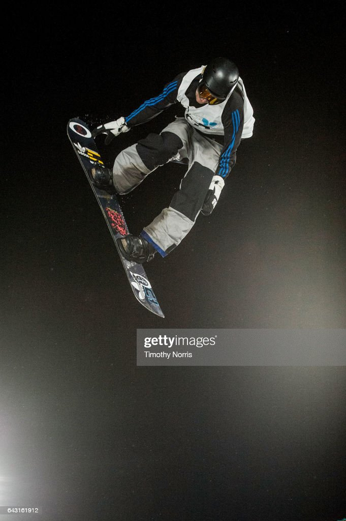 Snowboarder Nikolas Baden competes during Air + Style Los Angeles 2017 at Exposition Park on February 19, 2017 in Los Angeles, California.