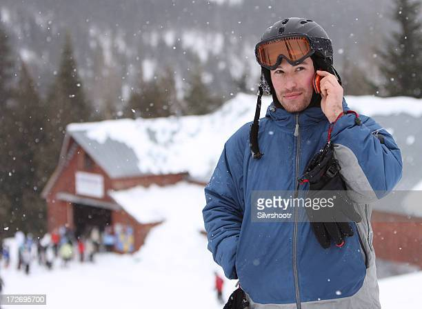 Snowboarder on cell phone